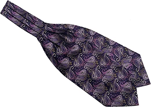 Mens Ascot Cravat silver Purple Paisley Silk Necktie Jacquard Handkerchief Set