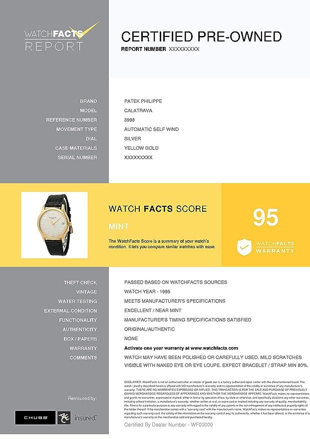 c2bca9ba2 Amazon.com: Patek Philippe Calatrava Automatic-self-Wind Male Watch 3998  (Certified Pre-Owned): Patek Philippe: Watches