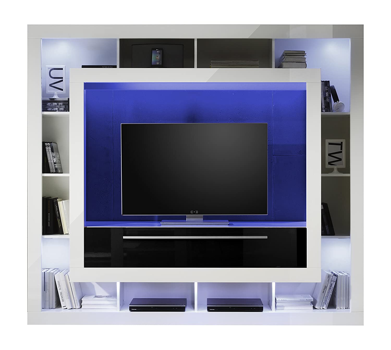 Trendteam Mx89302 Wohnwand Tv Möbel Weiss Hochglanz Absetzung