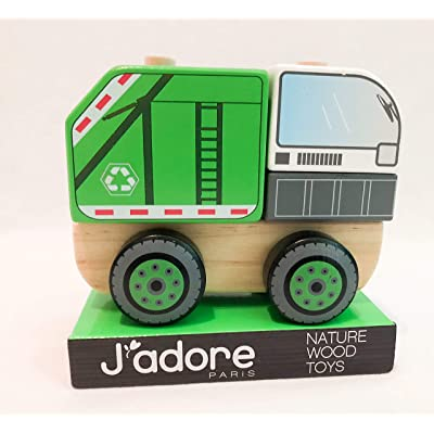 J'adore Paris Garbage Truck Wooden Toy Stack-a-Block Puzzle: Toys & Games