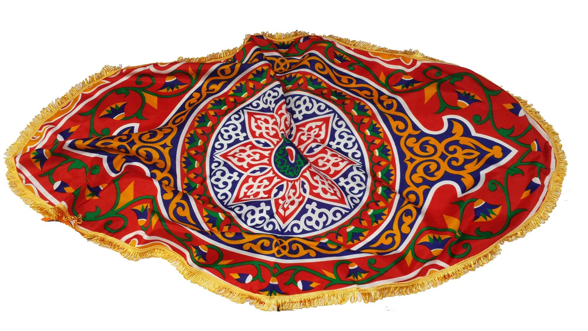 Egypt gift shops Oval Exotic Lotus Traditional Arabic Textile Sheet Tribal Khayamiya Ramadan Display Showroom Fabric Table Topper Wall Decor Party Cover Fringes