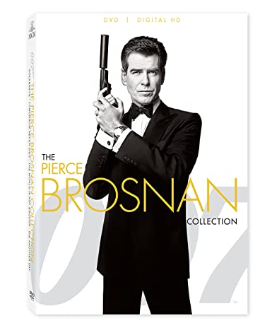 "Pierce Brosnan as James Bond in ""GoldenEye"", ""Tomorrow Never Dies"", ""The World Is Not Enough"", and ""Skyfall"""