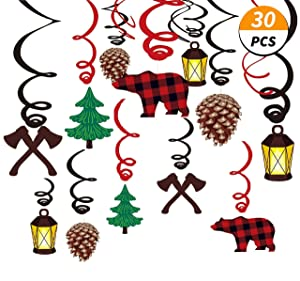 Kristin Paradise 30Ct Lumberjack Hanging Swirl Decorations, Buffalo Plaid Ceiling Streamers, Camping Theme Birthday Party Supplies, Baby Shower Red Decor, Boy/Girl/Kids 1st First Themed Favors Set
