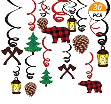 Kristin Paradise 30ct Lumberjack Hanging Swirl Decorations Buffalo Plaid Ceiling Streamers Camping Theme Birthday Party Supplies Baby Shower Red