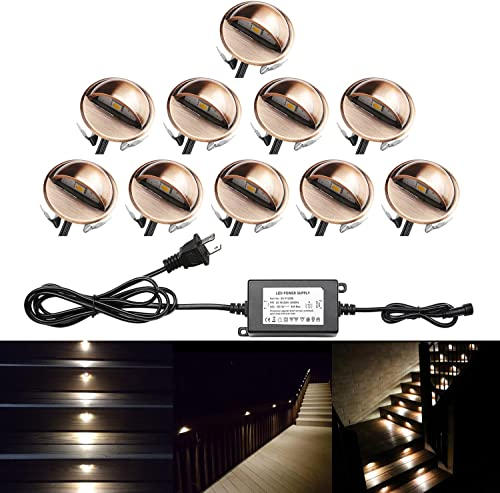 QACA Pack of 10 LED Stair Light Low Voltage Waterproof IP65 Outdoor 1.38 Wood Recessed Warm White LED Deck Lighting Yard Garden Patio Step Landscape Pathway Decor Lamp, Bronze