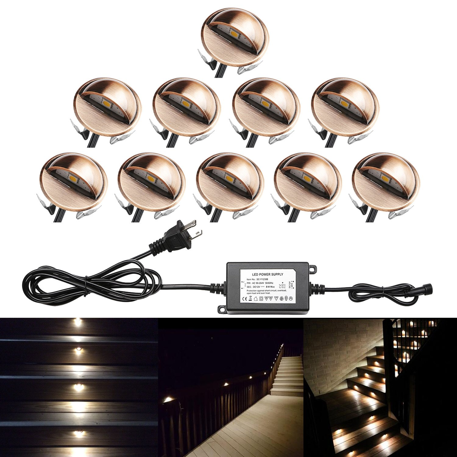 QACA Pack of 10 LED Stair Light Low Voltage Waterproof IP65 Outdoor Φ1.38'' Wood Recessed Warm White LED Deck Lighting Yard Garden Patio Step Landscape Pathway Decor Lamp, Bronze