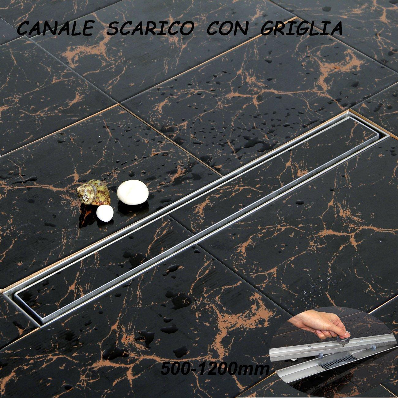 100cm pour Salle de Bain Yorbay Caniveau de Douche en Acier INOX Italienne Siphon Sol d/évacuation /à Carreler 50cm 50cm