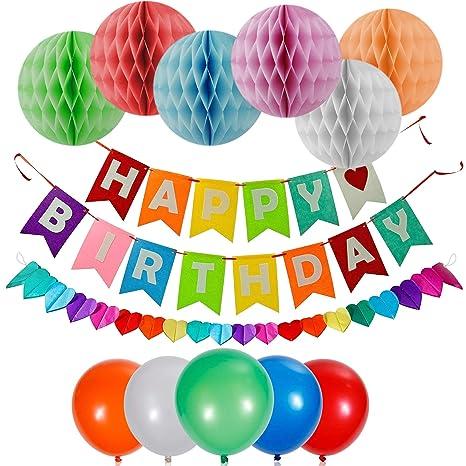 Decoraciones de Feliz Cumpleaños - Birthday Decoracion - Gran variedad de Decoración Incluye globos, carteles, y pompones - Ideal para todas las ...