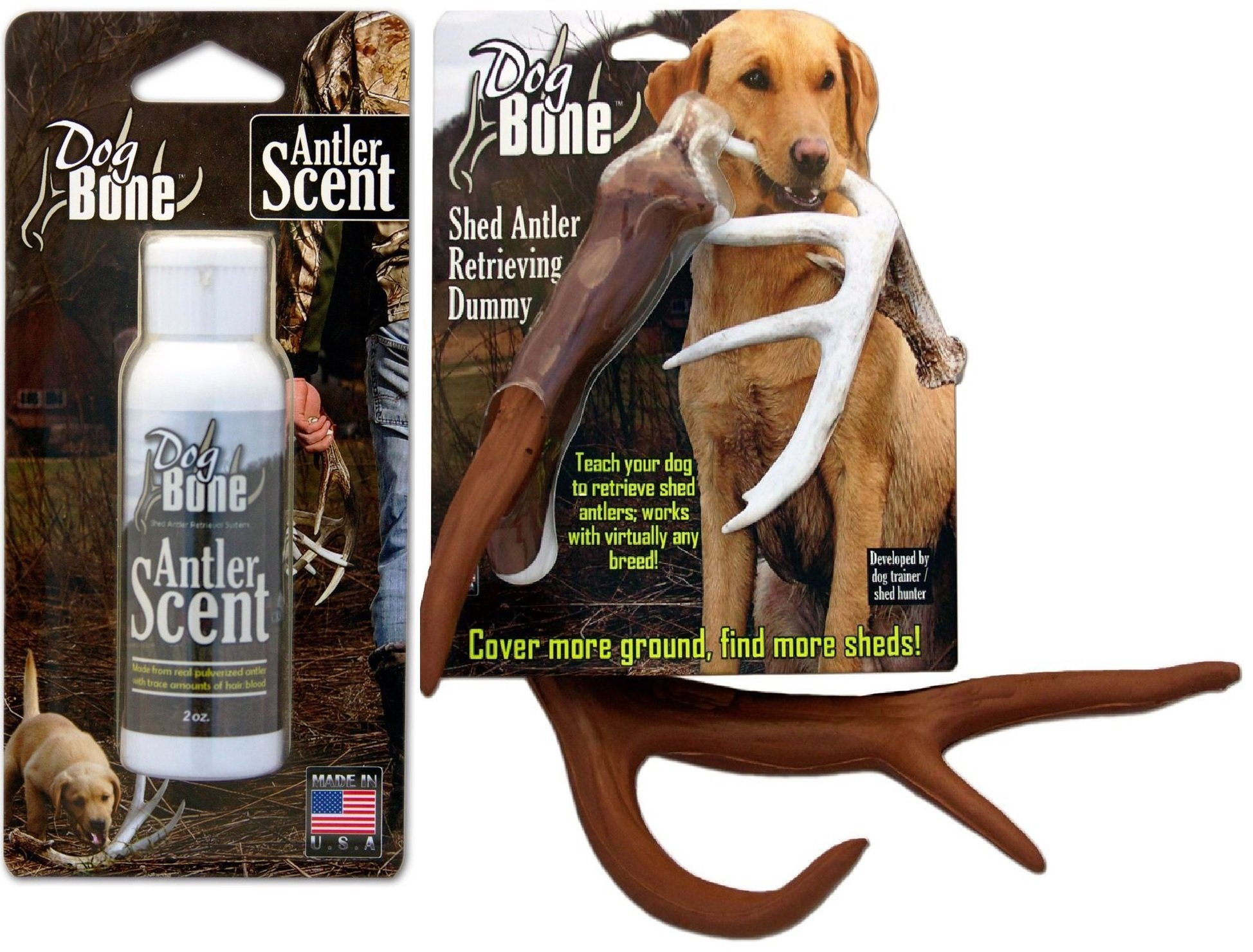 Dog Bone 2oz. Antler Scent for Shed Dog Training by Moore Outdoors DBAS and DogBone Shed Antler Dog Retrieving and Training Dummy (Brown) by Moore Outdoors DBAD