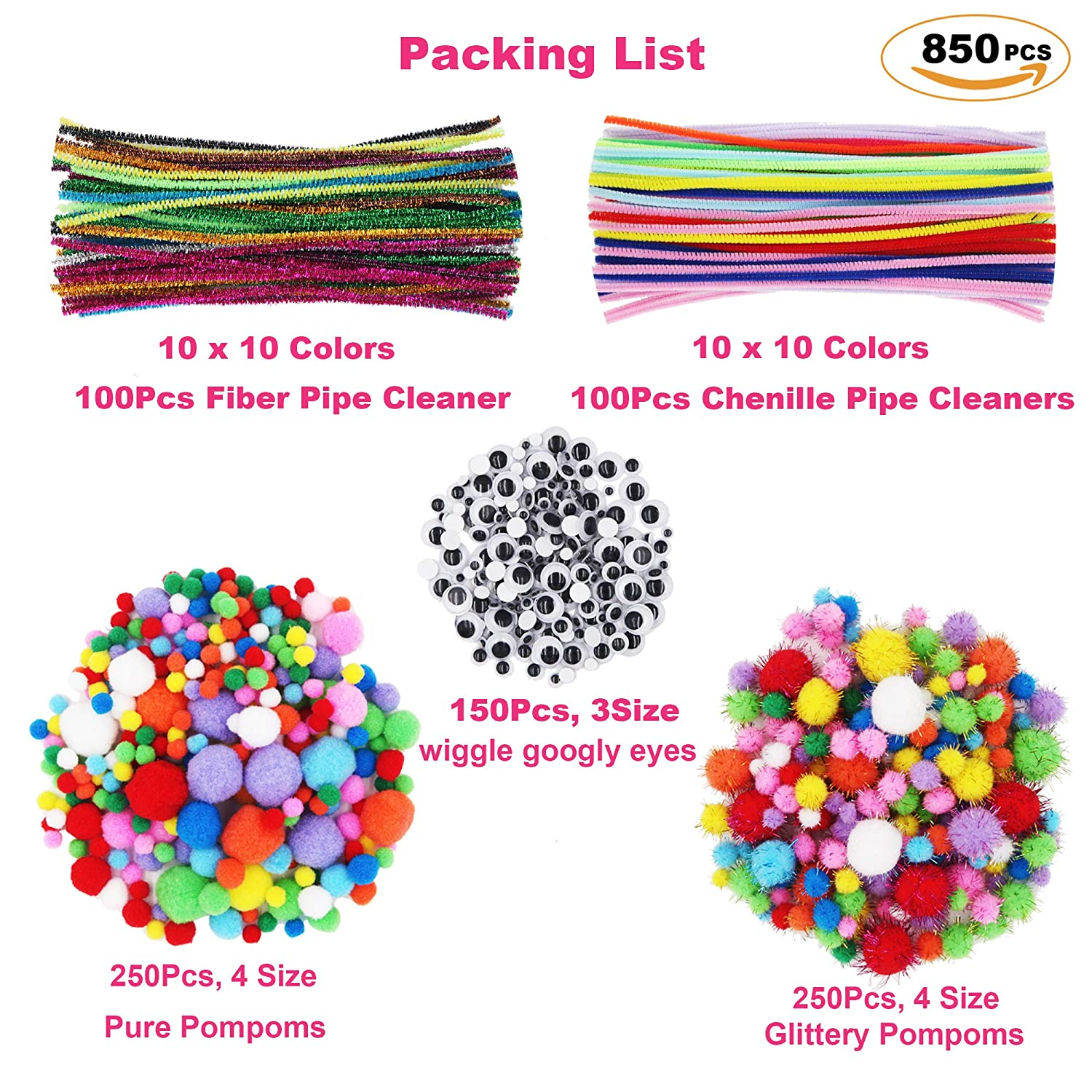ZTWEDEN 850 Pipe Cleaners Craft Set Assorted Pompoms Multicolor Arts and Crafts Fuzzy Pom Poms Balls Wiggle Googly Eyes for DIY Creative Crafts Decorations