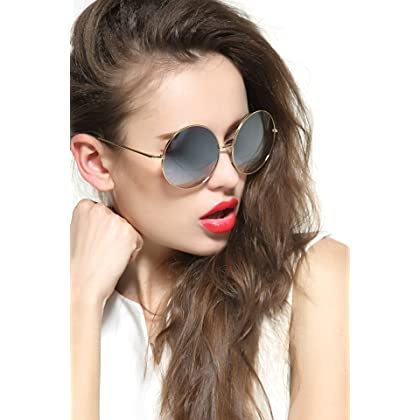 eb5ead1beb ... GEELOOK Oversized Round Circle Mirrored Hippie Hipster Sunglasses - Metal  Frame ...