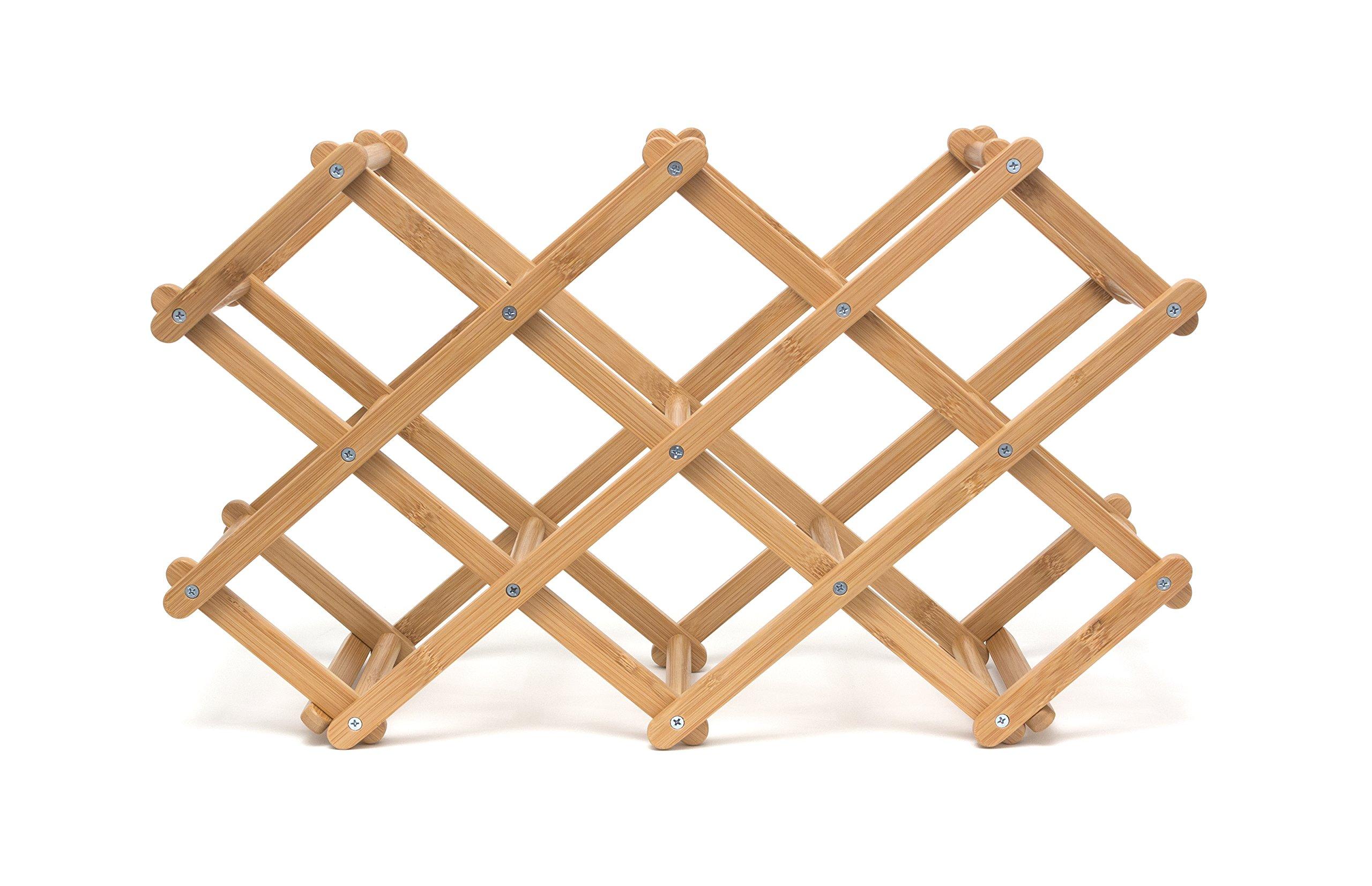 Lipper International 8314 Folding Bamboo Wood 10-Bottle Wine Rack, 19-5/8'' x 7-1/2'' x 3''