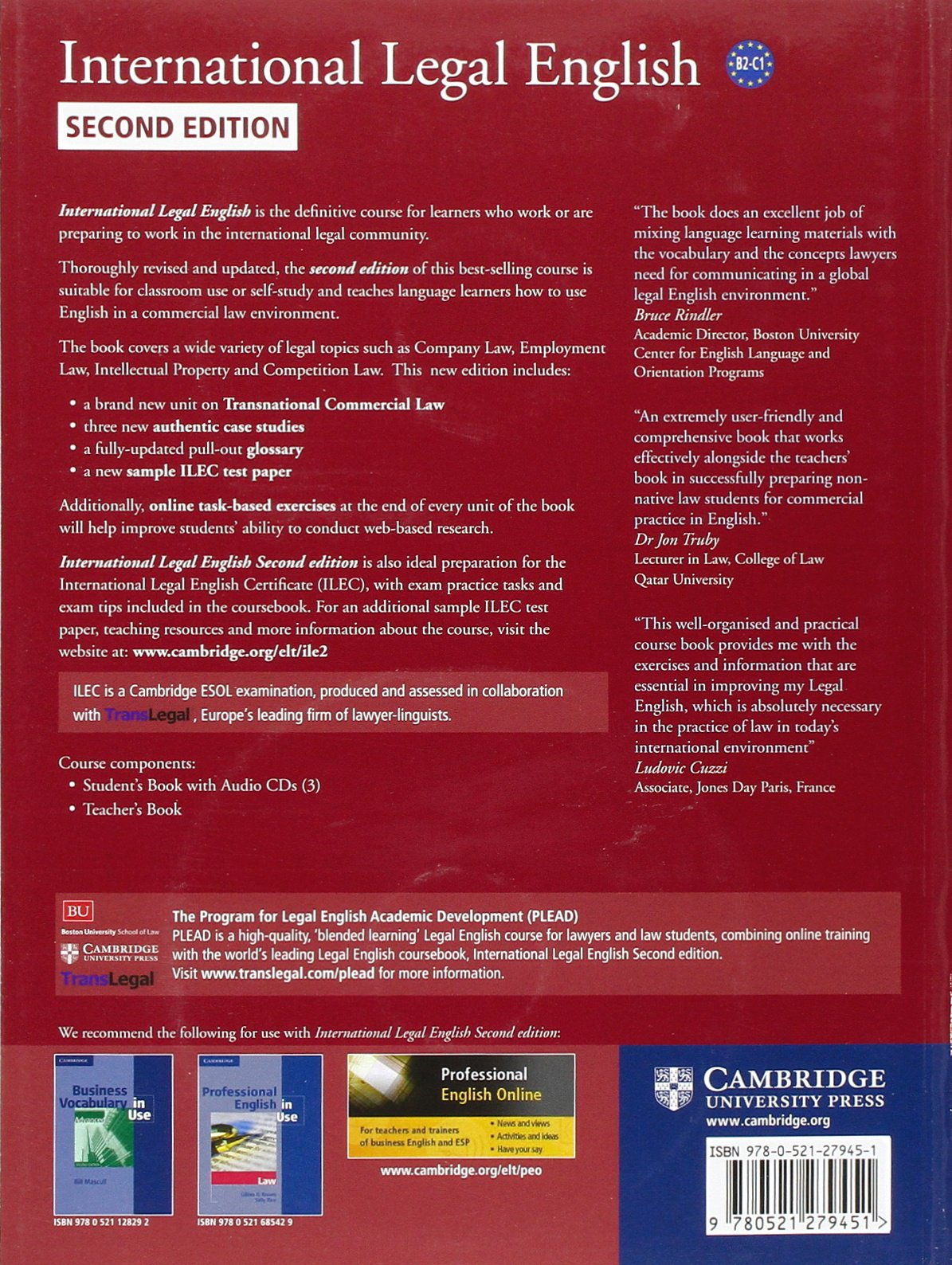 International Legal English Student's Book with Audio CDs (3): A Course for Classroom or Self-study Use by Cambridge University Press