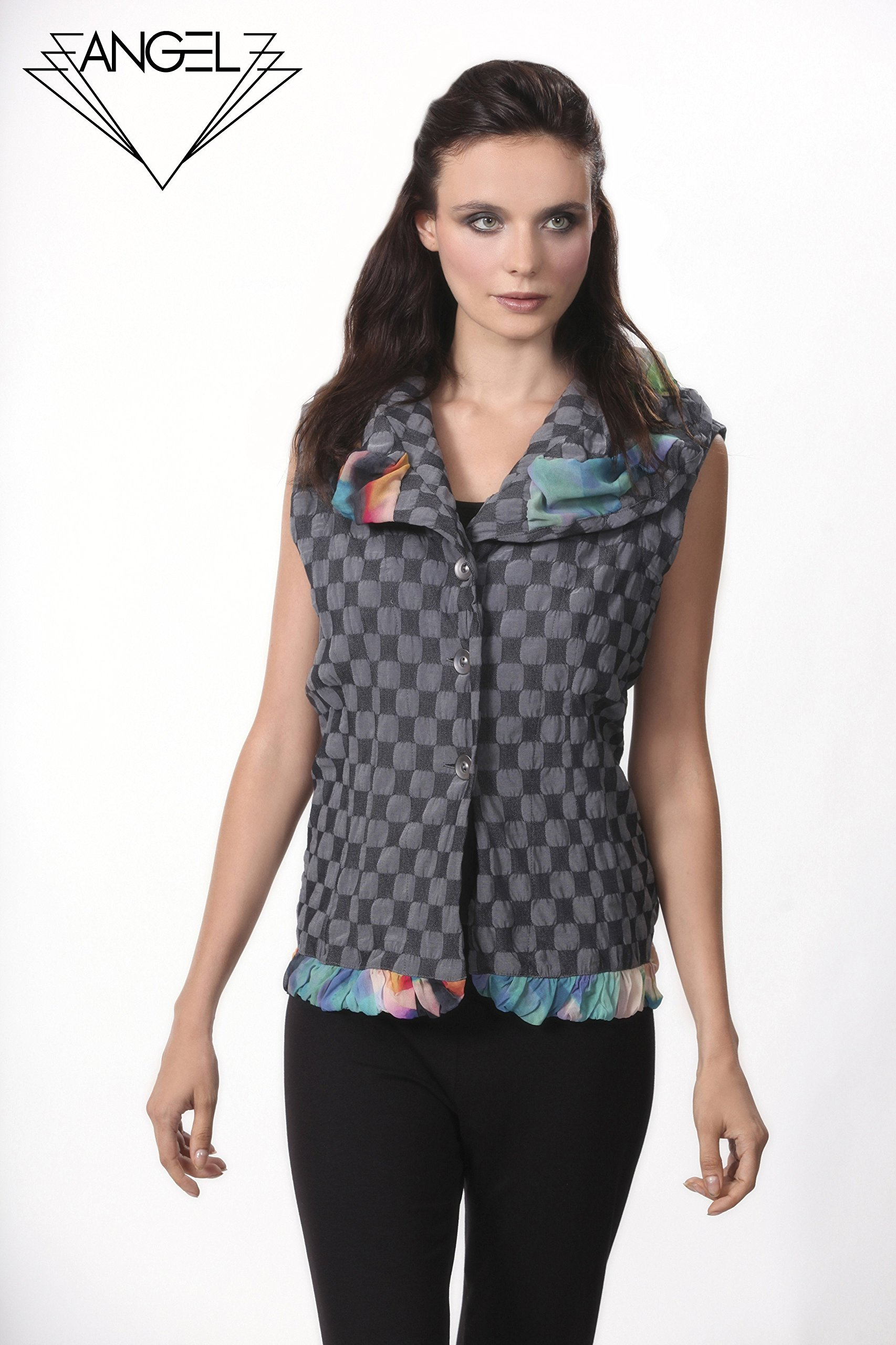 Angel Apparel Checkerboard Ruffled Vest