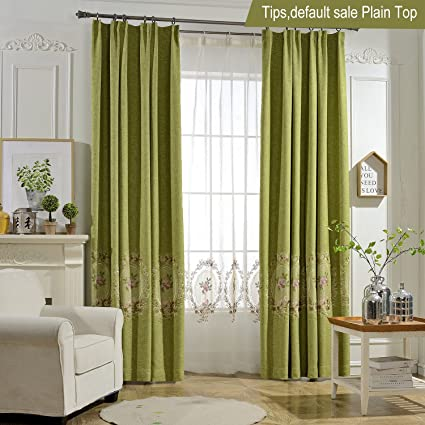 Anady Top Olive Green Curtains Flowers Embroidered Room Darkening Drapes  For Bedroom/Living Room Plain
