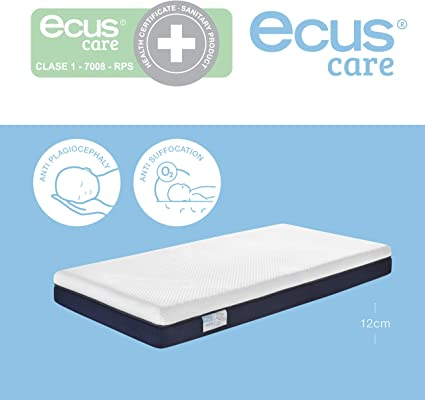 Super Soft Baby Blue//White Luxury Quilted Travel Cot Mattress Enhancer with Microfibre Liner to Fit Mattress Size 95 x 65 cm