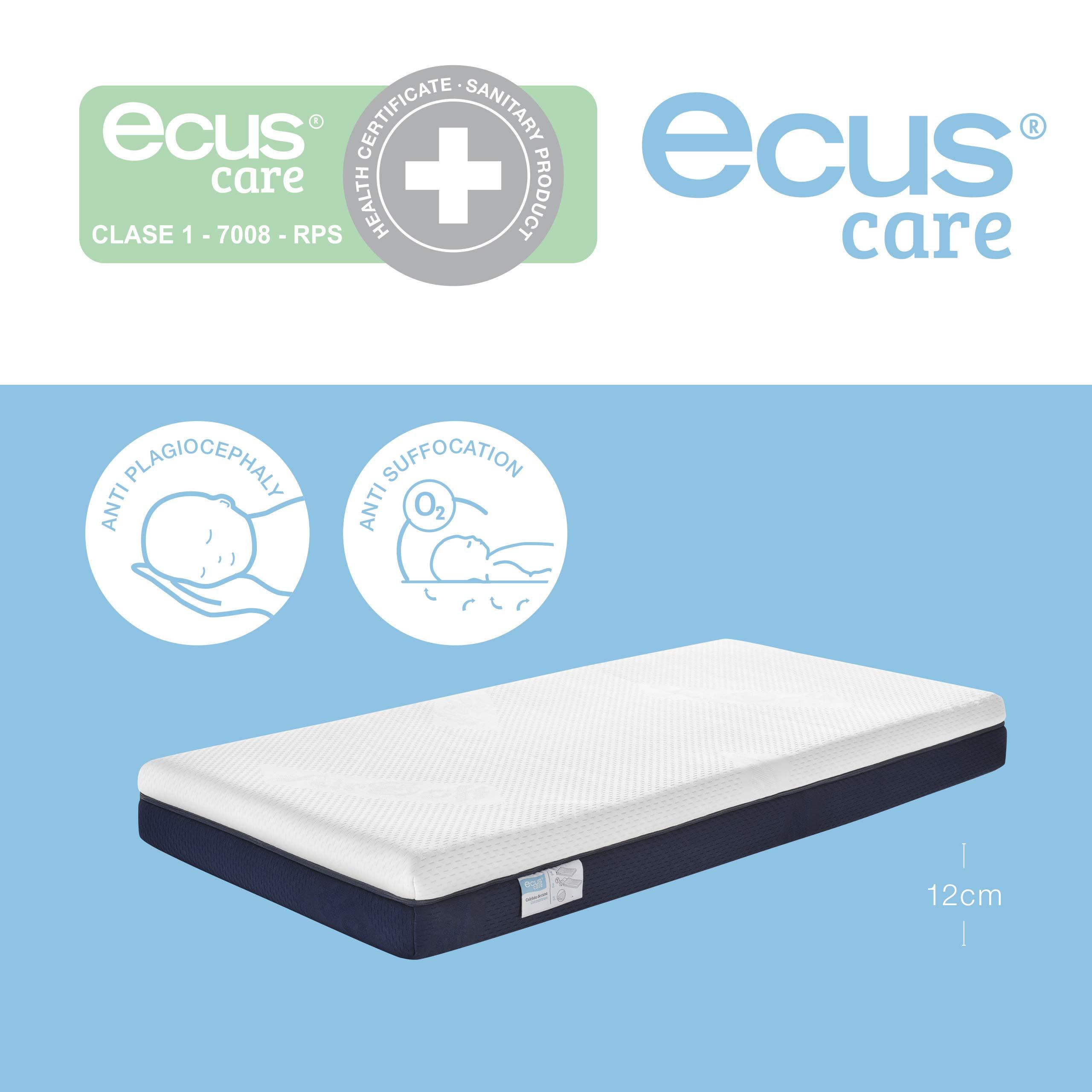 Ecus Care, 140cm x 70cm, colchón de cuna anti plagiocefalia product image