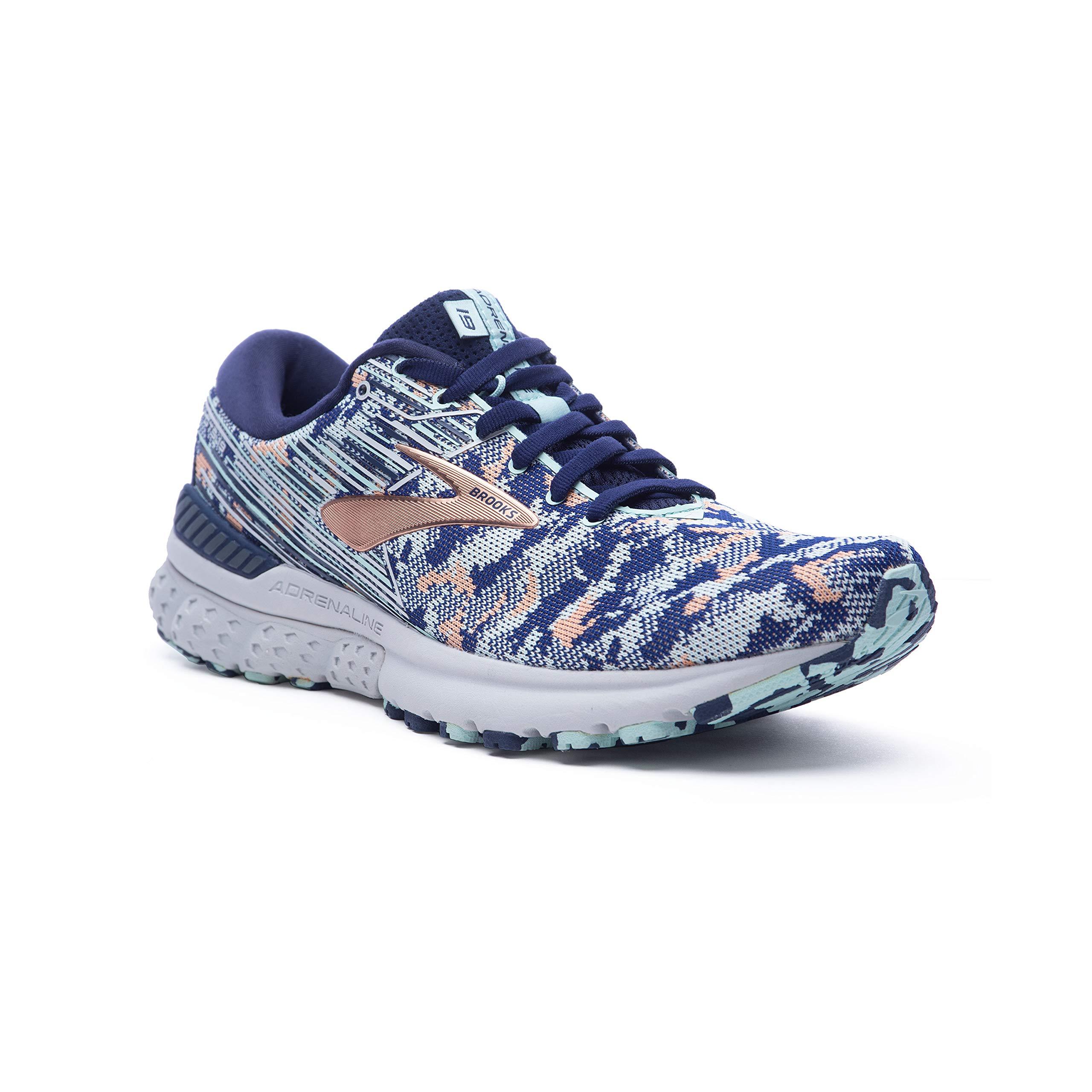 Brooks Womens Adrenaline GTS 19 Running Shoe - Navy/Coral/Ice - B - 10.0