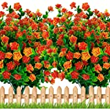 Artificial Flowers Outdoor Plastic Plants - 6PCS Bundles Outside Face Mums Fake Greenery UV Resistant No Fade Faux…