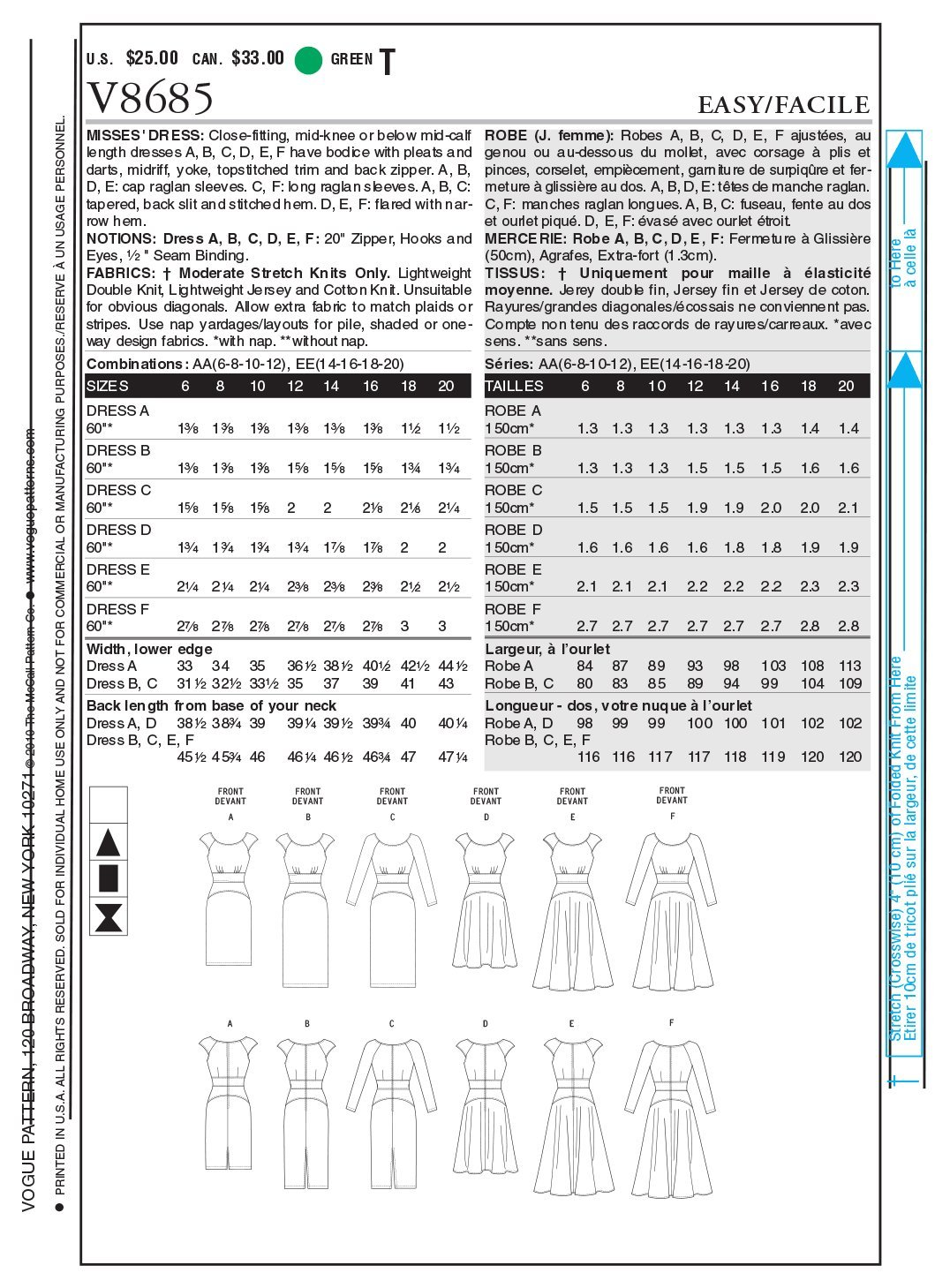 Vogue Patterns V8685 - Patrones de costura para vestidos de mujer ...
