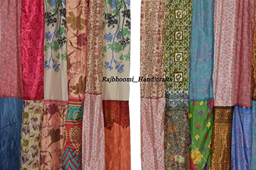 Indian Vintage Silk Sari Multi Color Patchwork Curtains and Drapes Home Decor Curtain 2 Pieces