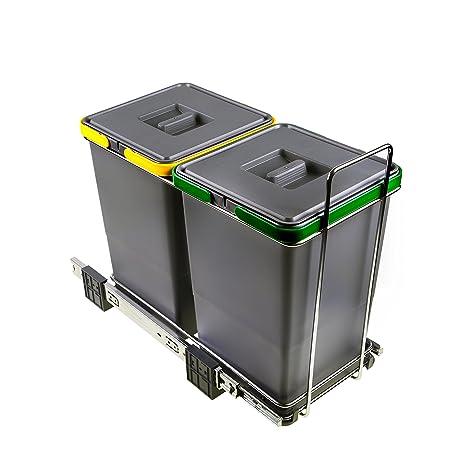 ELLETIPI ecofil PF01 34 A2 Papelera Reciclaje extraíble para Base, plástico y Metal, Gris