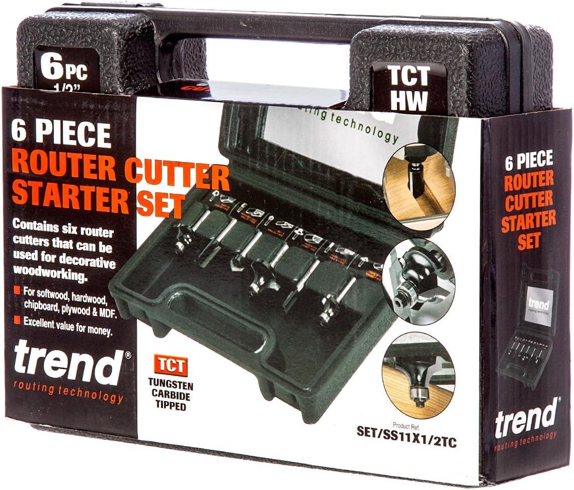 "Trend SS11 X 1//2/"" TCT 6PCE routeur Cutter Bit Set cutter SS11X1//2TC Bloc"