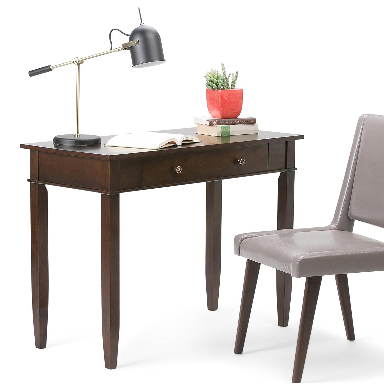 wood desks for office. Amazon.com: Simpli Home Carlton Solid Wood Office Desk, Dark Tobacco Brown: Kitchen \u0026 Dining Desks For