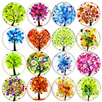 VEBE 16pcs Beautiful Glass Refrigerator Magnets Fridge Stickers Funny for Office Cabinets Whiteboards Tree of Life Decorative Photo Abstract (Tree of Life)