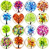 16pcs Beautiful Glass Refrigerator Magnets Fridge Stickers Funny for Office Cabinets Whiteboards Tree of Life Decorative Phot