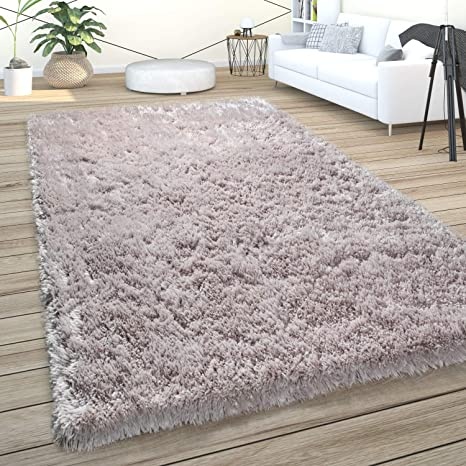 Hochflor Teppich Wohnzimmer Shaggy Einfarbig Modern Weich Und Soft Pastell Rosa
