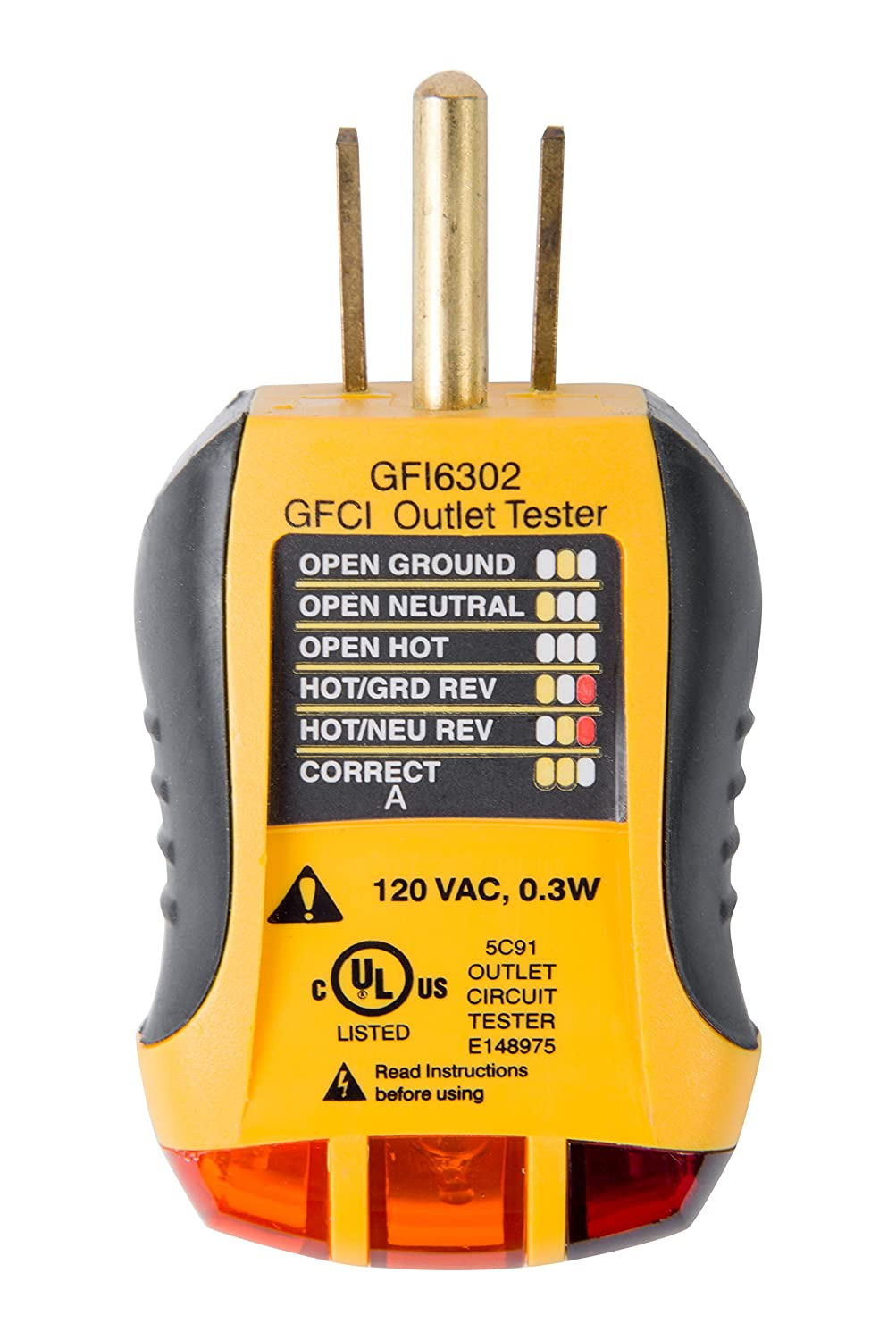 Sperry Instruments Gfi6302 Gfci Outlet Receptacle Tester Standard House Wiring Open Ground 120v Ac Outlets 7 Visual Indication Legend Home Professional Use