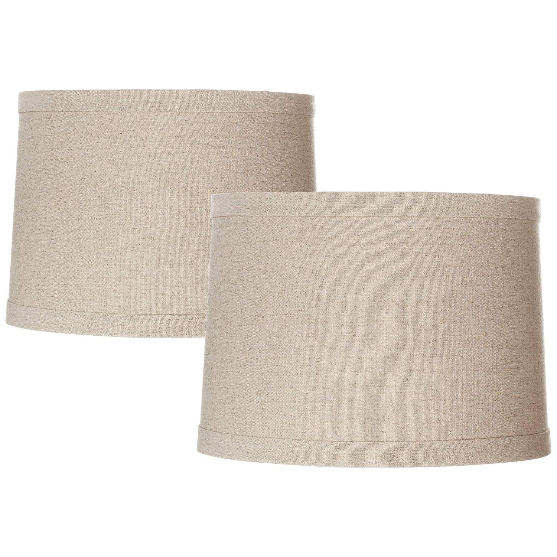 Lamp Shades Set of 2 Natural Linen Drum Shades 13x14x10 ...