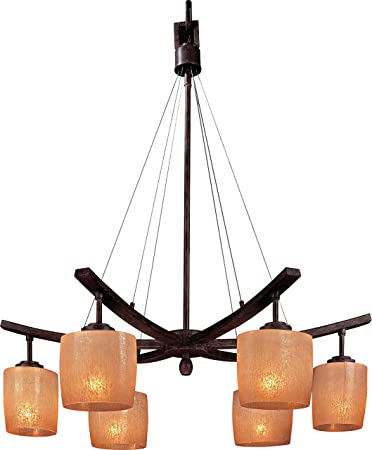 Minka Lavery Chandelier Pendant Lighting 1186-357, Raiden Glass 1 Tier Dining Room, 6 Light, 600 Watts, Iron