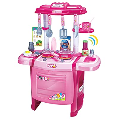 "Mozlly Jumbo Cook Electronic Complete Kitchen Playset, 24.5"" Toddler Cooking Toys Kids Oven Sink Stovetop Cookware Pretend Play Lights & Sound Effects, Colors May Vary: Toys & Games [5Bkhe0703919]"