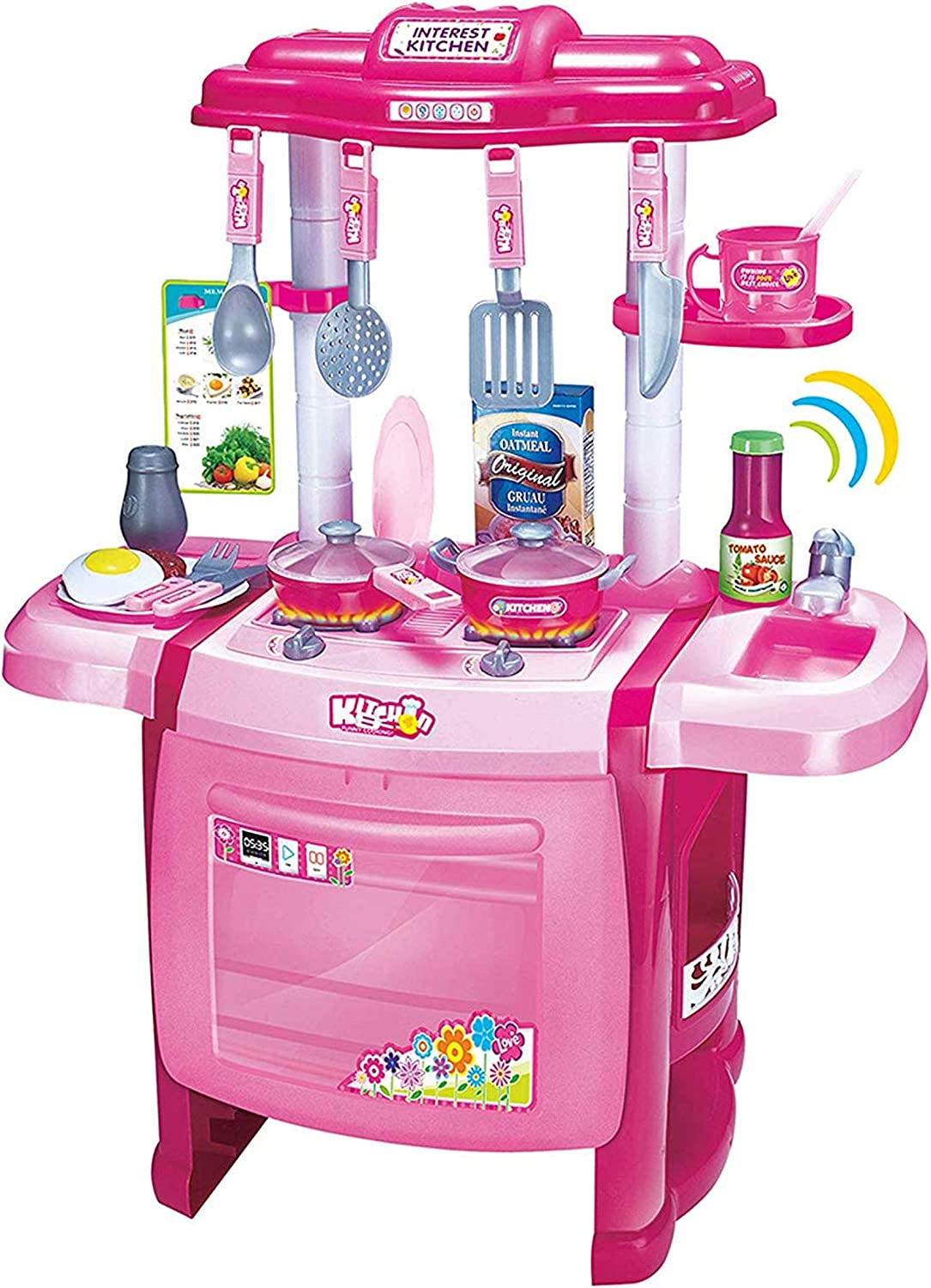 Amazon Com Mozlly Jumbo Cook Electronic Complete Kitchen Playset 24 5 Toddler Cooking Toys For Kids With Oven Sink Stovetop Cookware Pretend Play With Lights Sound Effects Colors May Vary Toys Games