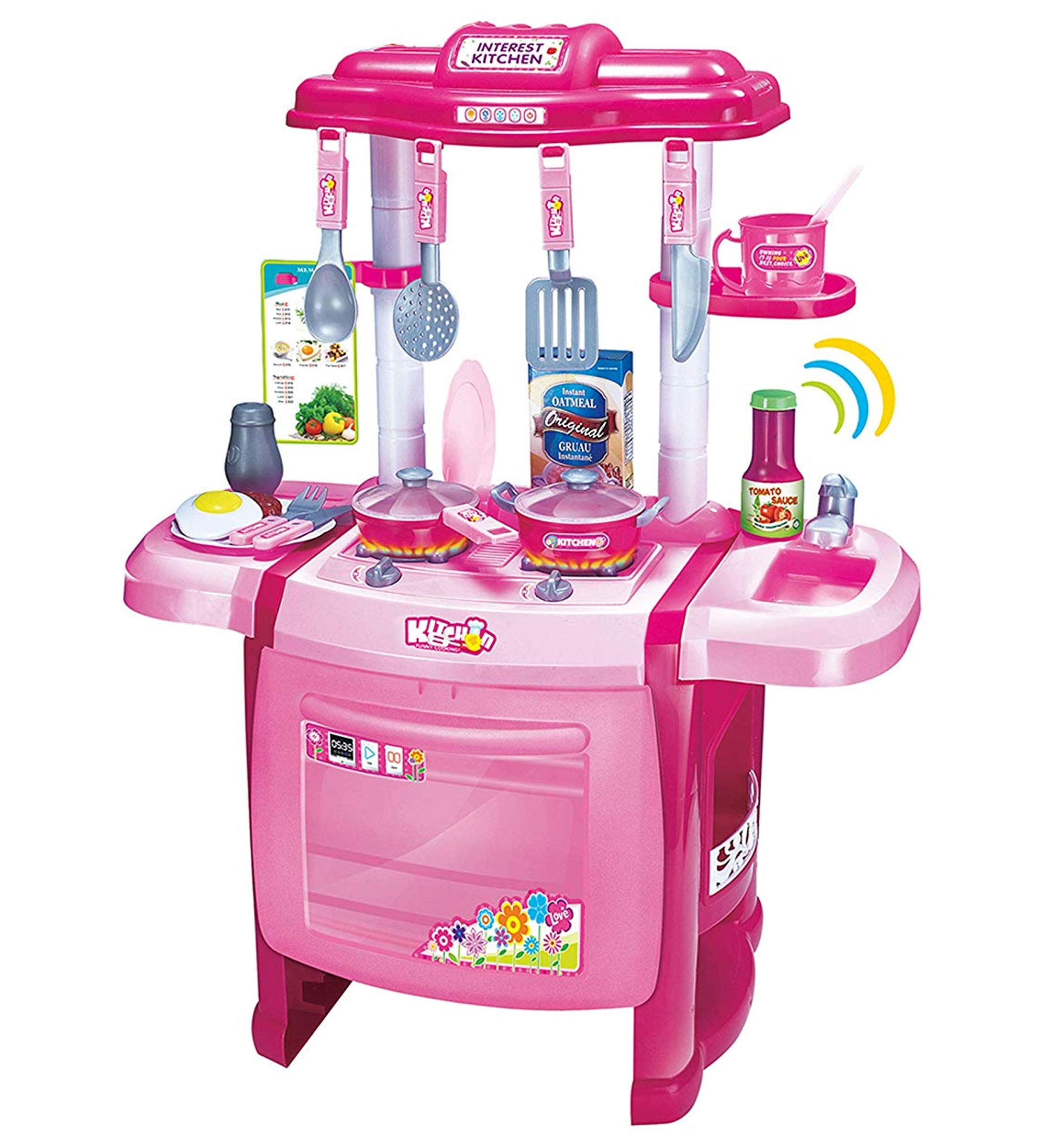 Mozlly Jumbo Cook Electronic Complete Kitchen Playset, 24.5'' Toddler Cooking Toys Kids Oven Sink Stovetop Cookware Pretend Play Lights & Sound Effects, Colors May Vary