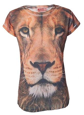 para Mujer diseño de impresión diseño de león de Cara de ...