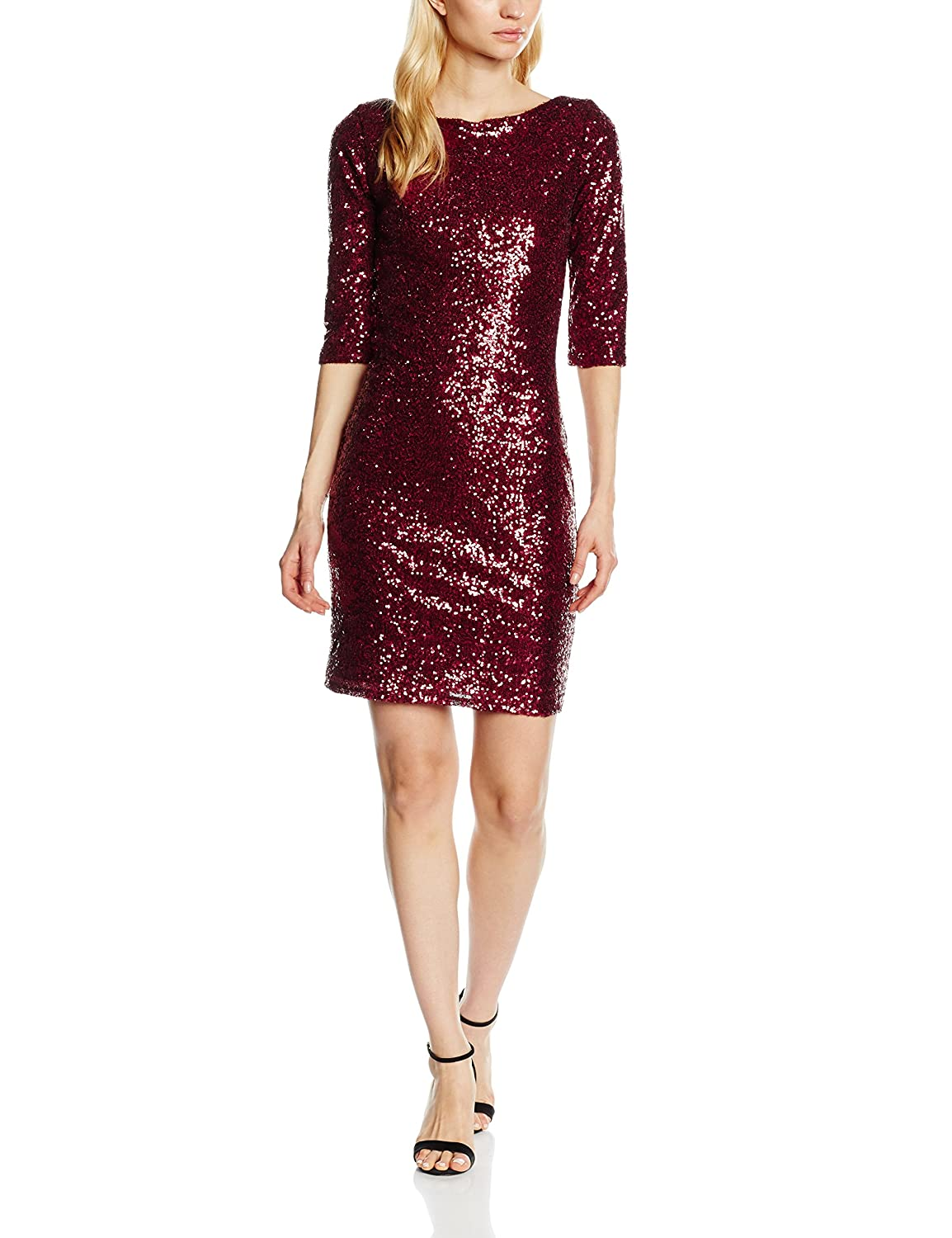 cdd6ff02a38 Hot Squash Women s Sequin Cocktail 3 4 Sleeve Dress  Amazon.co.uk  Clothing