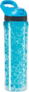 Oggi 8059.5 Double Wall Chill To Go Sport Bottle with Freezer Gel Core, 20 oz, Blue