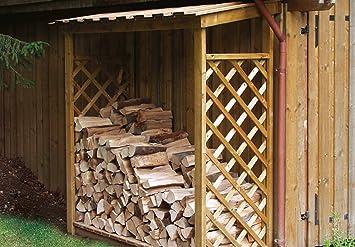 Leñero para exterior de madera - ENVIOS SOLO A PENÍNSULA: Amazon ...