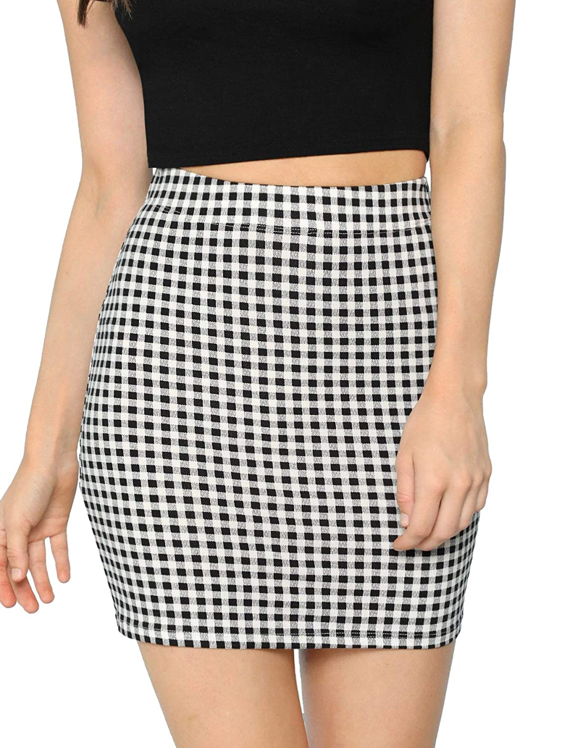 Grey SheIn Women's Basic Stretch Plaid Mini Bodycon Pencil Skirt