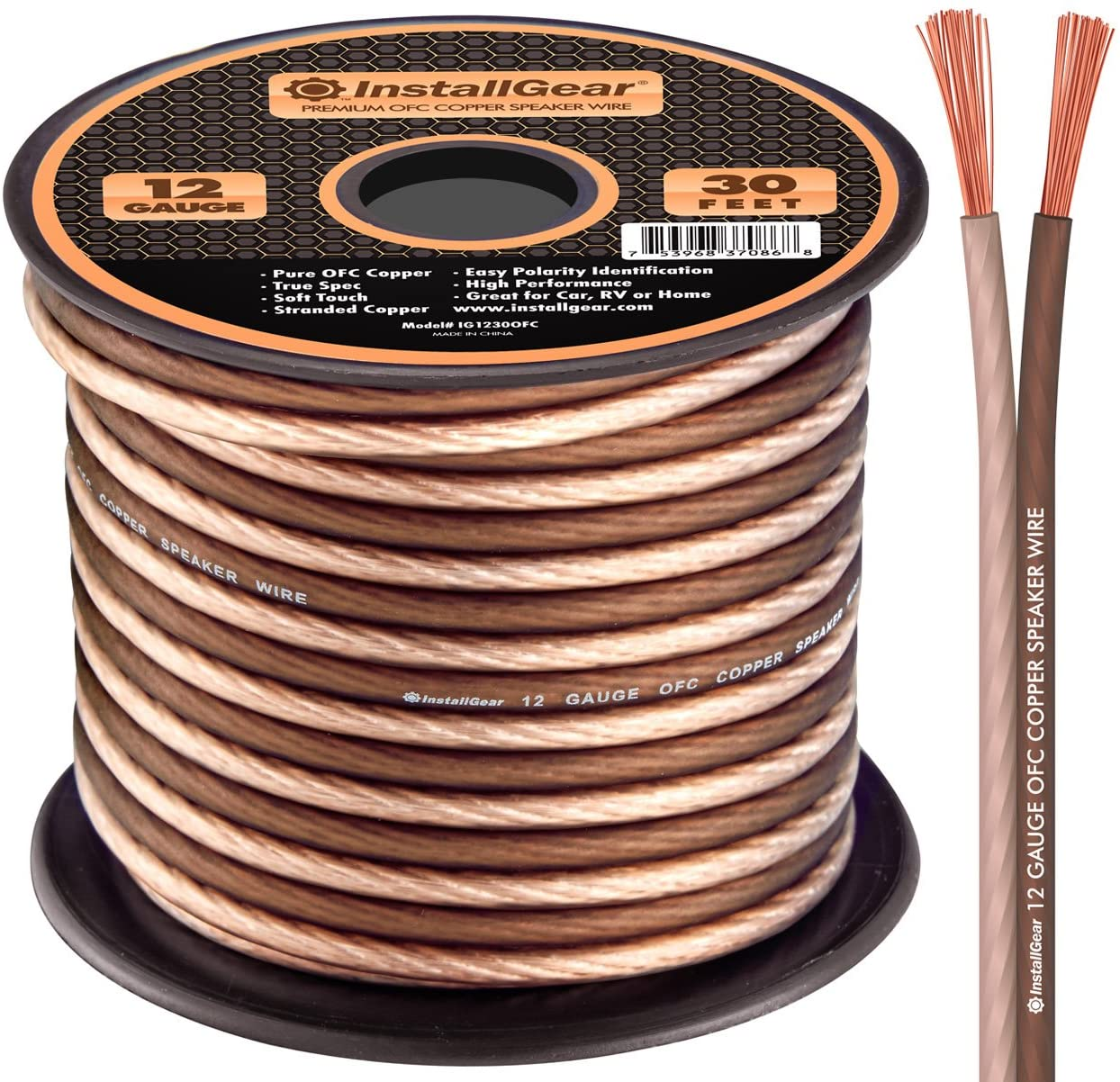 InstallGear 10 Gauge Speaker Wire - 10.10% Oxygen-Free Copper - True Spec  and Soft Touch Cable (10-feet)