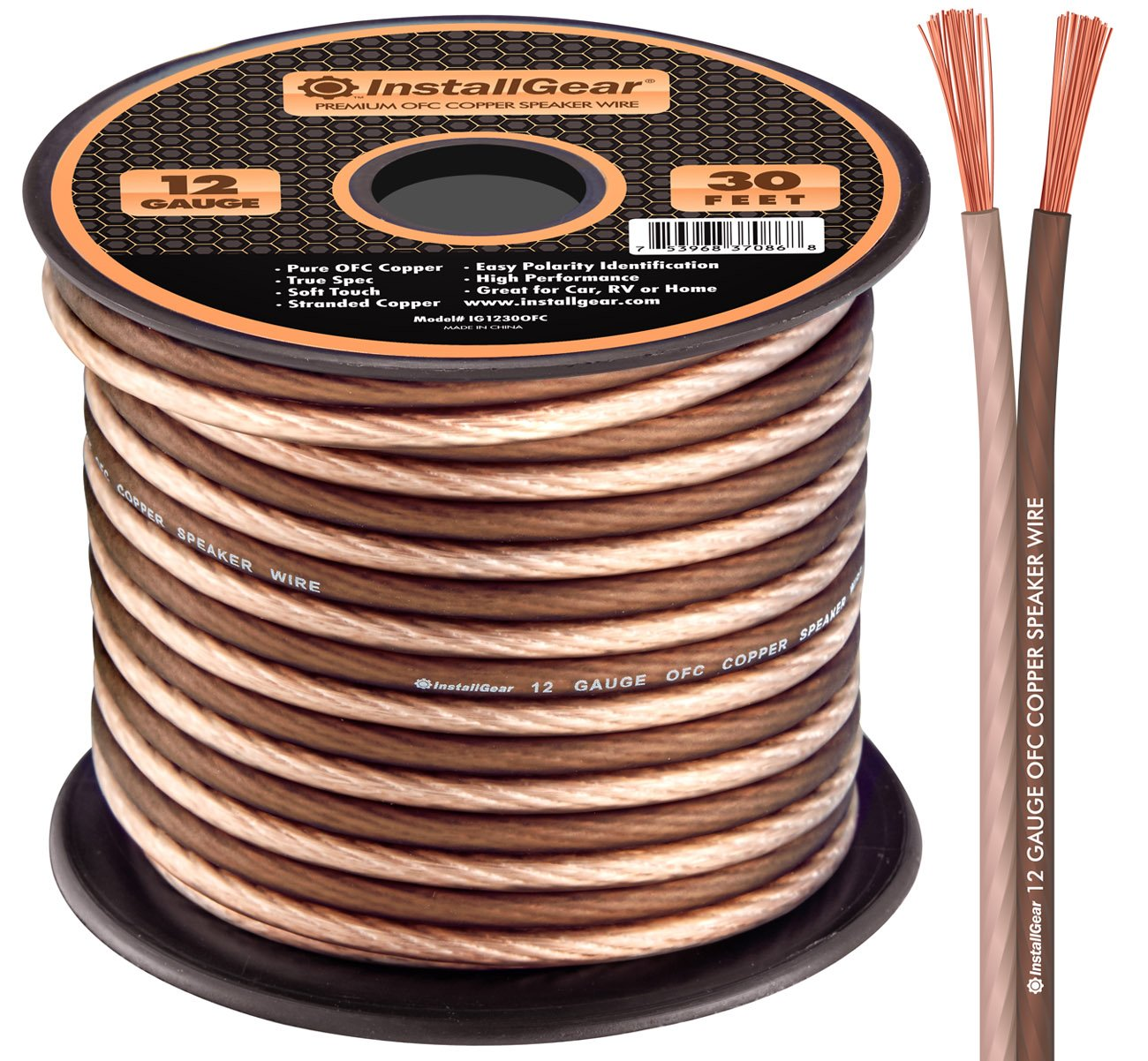 InstallGear 12 Gauge Speaker Wire - 99.9% Oxygen-Free Copper - True Spec and Soft Touch Cable (30-feet) by InstallGear