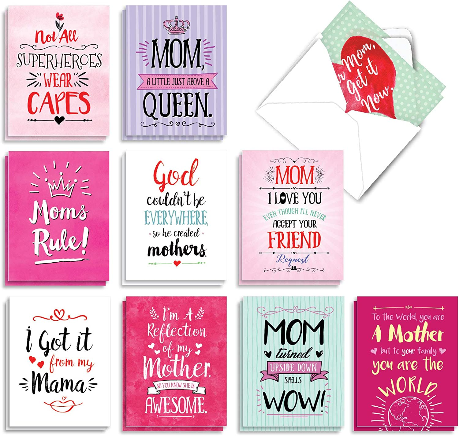Memories of Motherhood AC6783MDG-B1x10 10 Assorted Mothers Day Cards with Envelopes Women Boxed Funny Cards for Mom Stepmom NobleWorks