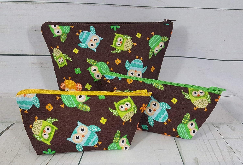 Cute Owl Print Travel Organizer Pen Pencil Case Pouch Makeup Bag Clutch Purse