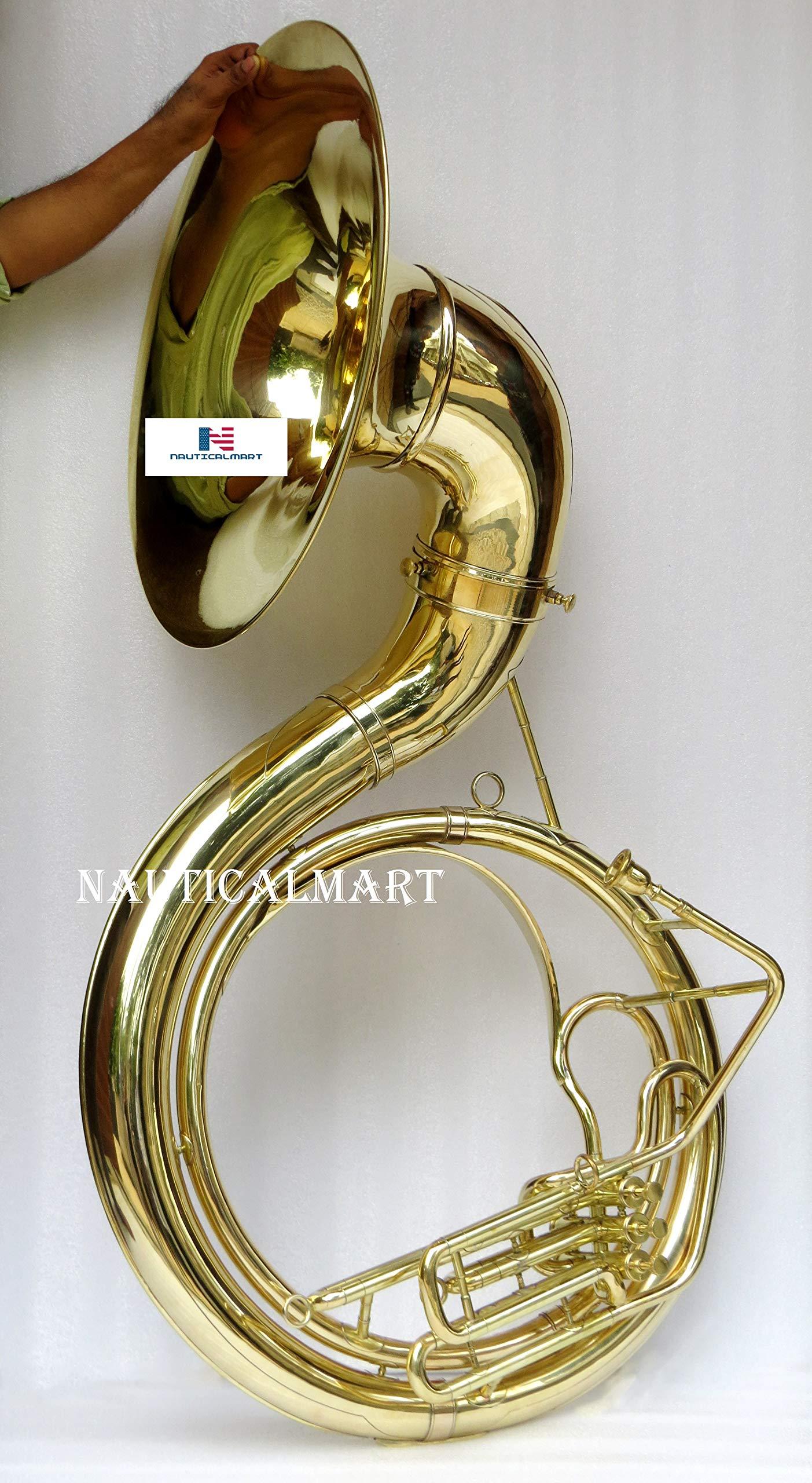 Jumbo 24-inch Bell Zweiss Superbrass BBb Sousaphone Natural Unlacquered Brass by NauticalMart