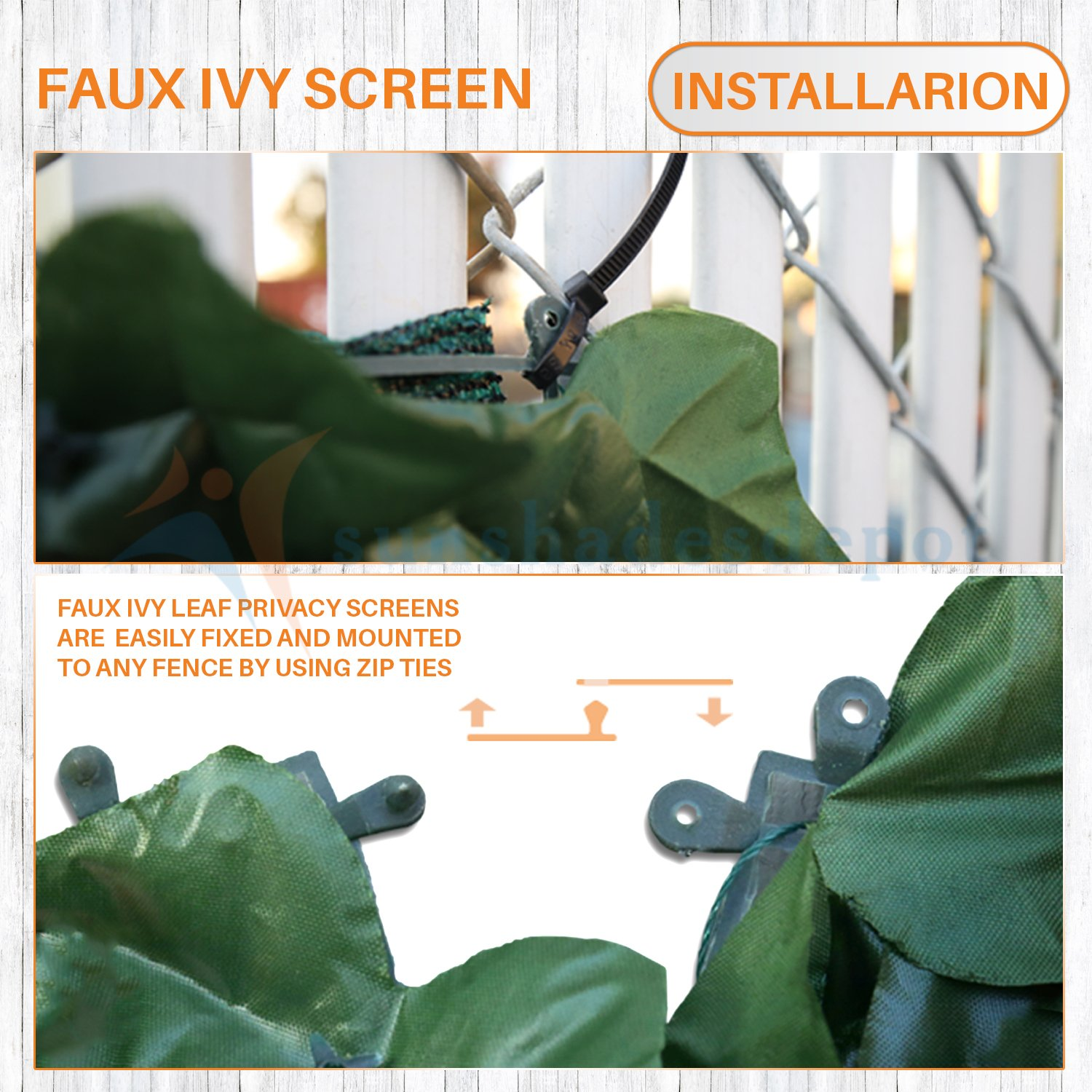 Sunshades Depot 4' x 14' Artificial Faux Ivy Privacy Fence Screen Leaf Vine Decoration Panel with Mesh Back by Sunshades Depot (Image #4)