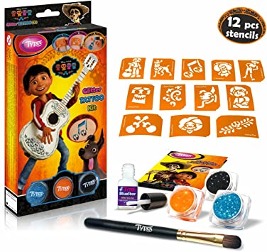 Disney Coco Glitter Tattoo Kit with 12 amazing stencils ...