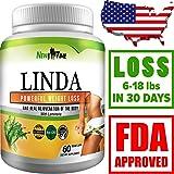 LINDA - Weight Loss Pills for Women & Men, Herbal Diet Supplements, Natural Fat Burner and Appetite Suppressant that work fast, Best diet pills 2017